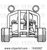 Clip Art of Retro Guy Riding Sports Buggy Front View by Leo Blanchette