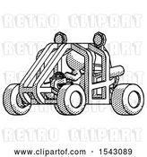 Clip Art of Retro Guy Riding Sports Buggy Side Angle View by Leo Blanchette