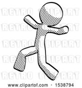 Clip Art of Retro Guy Running Away in Hysterical Panic Direction Left by Leo Blanchette