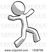 Clip Art of Retro Guy Running Away in Hysterical Panic Direction Right by Leo Blanchette