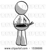 Clip Art of Retro Guy Serving or Presenting Noodles by Leo Blanchette