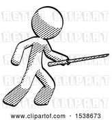 Clip Art of Retro Guy Stabbing with Ninja Sword Katana by Leo Blanchette