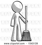 Clip Art of Retro Guy Standing with Broom Cleaning Services by Leo Blanchette
