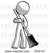 Clip Art of Retro Guy Sweeping Area with Broom by Leo Blanchette