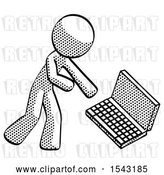 Clip Art of Retro Guy Throwing Laptop Computer in Frustration by Leo Blanchette