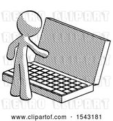 Clip Art of Retro Guy Using Large Laptop Computer by Leo Blanchette