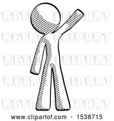 Clip Art of Retro Guy Waving Emphatically with Left Arm by Leo Blanchette