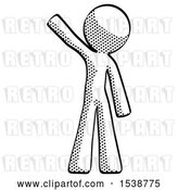Clip Art of Retro Guy Waving Emphatically with Right Arm by Leo Blanchette