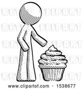 Clip Art of Retro Guy with Giant Cupcake Dessert by Leo Blanchette