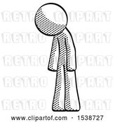 Clip Art of Retro Halftone Design Mascot Guy Depressed with Head down Turned Left by Leo Blanchette