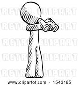 Clip Art of Retro Halftone Design Mascot Guy Holding Binoculars Ready to Look Right by Leo Blanchette
