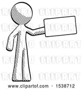 Clip Art of Retro Halftone Design Mascot Guy Holding Large Envelope by Leo Blanchette