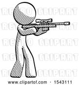 Clip Art of Retro Halftone Design Mascot Guy Shooting Sniper Rifle by Leo Blanchette