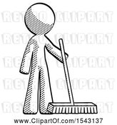Clip Art of Retro Halftone Design Mascot Guy Standing with Industrial Broom by Leo Blanchette