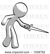 Clip Art of Retro Halftone Design Mascot Guy Sword Pose Stabbing or Jabbing by Leo Blanchette