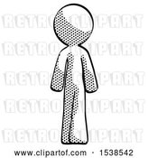 Clip Art of Retro Halftone Design Mascot Guy Walking Away, Back View by Leo Blanchette
