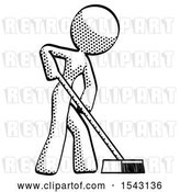 Clip Art of Retro Halftone Design Mascot Lady Cleaning Services Janitor Sweeping Side View by Leo Blanchette