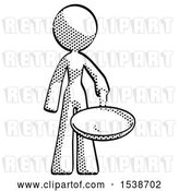 Clip Art of Retro Halftone Design Mascot Lady Frying Egg in Pan or Wok by Leo Blanchette