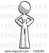 Clip Art of Retro Halftone Design Mascot Lady Hands on Hips by Leo Blanchette