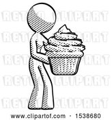 Clip Art of Retro Halftone Design Mascot Lady Holding Large Cupcake Ready to Eat or Serve by Leo Blanchette
