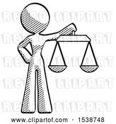 Clip Art of Retro Halftone Design Mascot Lady Holding Scales of Justice by Leo Blanchette