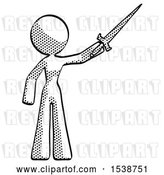 Clip Art of Retro Halftone Design Mascot Lady Holding Sword in the Air Victoriously by Leo Blanchette