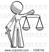 Clip Art of Retro Halftone Design Mascot Lady Justice Concept with Scales and Sword, Justicia Derived by Leo Blanchette