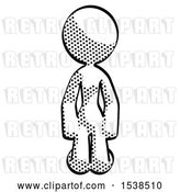 Clip Art of Retro Halftone Design Mascot Lady Kneeling Front Pose by Leo Blanchette