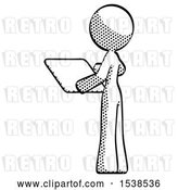 Clip Art of Retro Halftone Design Mascot Lady Looking at Tablet Device Computer with Back to Viewer by Leo Blanchette