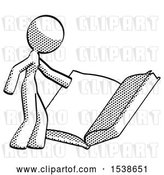 Clip Art of Retro Halftone Design Mascot Lady Reading Big Book While Standing Beside It by Leo Blanchette