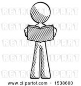 Clip Art of Retro Halftone Design Mascot Lady Reading Book While Standing up Facing Viewer by Leo Blanchette