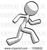 Clip Art of Retro Halftone Design Mascot Lady Running Fast Right by Leo Blanchette