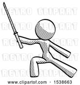 Clip Art of Retro Halftone Design Mascot Lady with Ninja Sword Katana in Defense Pose by Leo Blanchette