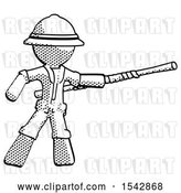 Clip Art of Retro Halftone Explorer Ranger Guy Bo Staff Pointing Right Kung Fu Pose by Leo Blanchette