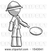 Clip Art of Retro Halftone Explorer Ranger Guy Frying Egg in Pan or Wok Facing Right by Leo Blanchette