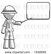 Clip Art of Retro Halftone Explorer Ranger Guy Giving Presentation in Front of Dry-erase Board by Leo Blanchette