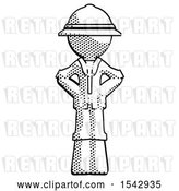 Clip Art of Retro Halftone Explorer Ranger Guy Hands on Hips by Leo Blanchette