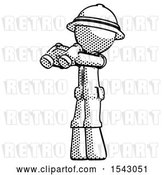 Clip Art of Retro Halftone Explorer Ranger Guy Holding Binoculars Ready to Look Left by Leo Blanchette