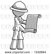 Clip Art of Retro Halftone Explorer Ranger Guy Holding Blueprints or Scroll by Leo Blanchette