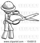 Clip Art of Retro Halftone Explorer Ranger Guy Holding Giant Scissors Cutting out Something by Leo Blanchette
