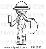 Clip Art of Retro Halftone Explorer Ranger Guy Holding Large Steak with Butcher Knife by Leo Blanchette