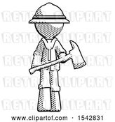 Clip Art of Retro Halftone Explorer Ranger Guy Holding Red Fire Fighter's Ax by Leo Blanchette