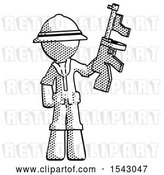 Clip Art of Retro Halftone Explorer Ranger Guy Holding Tommygun by Leo Blanchette