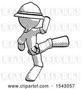 Clip Art of Retro Halftone Explorer Ranger Guy Kick Pose by Leo Blanchette