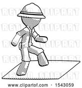 Clip Art of Retro Halftone Explorer Ranger Guy on Postage Envelope Surfing by Leo Blanchette