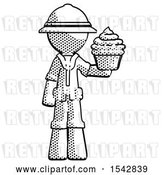 Clip Art of Retro Halftone Explorer Ranger Guy Presenting Pink Cupcake to Viewer by Leo Blanchette