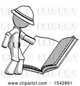 Clip Art of Retro Halftone Explorer Ranger Guy Reading Big Book While Standing Beside It by Leo Blanchette