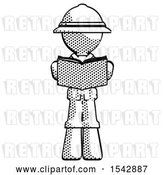 Clip Art of Retro Halftone Explorer Ranger Guy Reading Book While Standing up Facing Viewer by Leo Blanchette