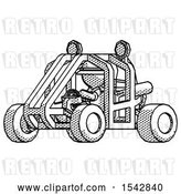 Clip Art of Retro Halftone Explorer Ranger Guy Riding Sports Buggy Side Angle View by Leo Blanchette