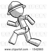 Clip Art of Retro Halftone Explorer Ranger Guy Running Fast Left by Leo Blanchette